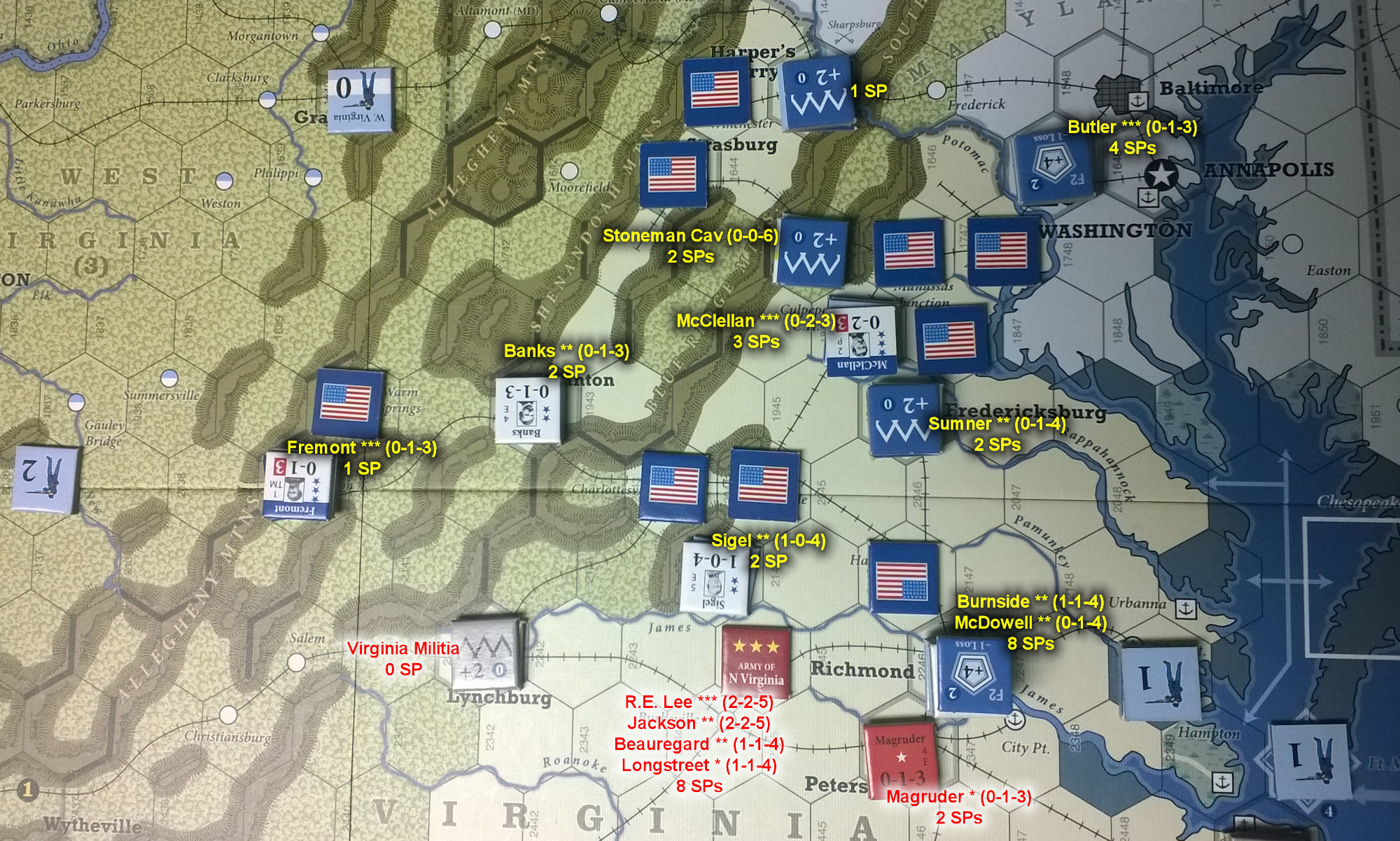The U.S. Civil War: Eastern Theater at the end of Game Turn 5
