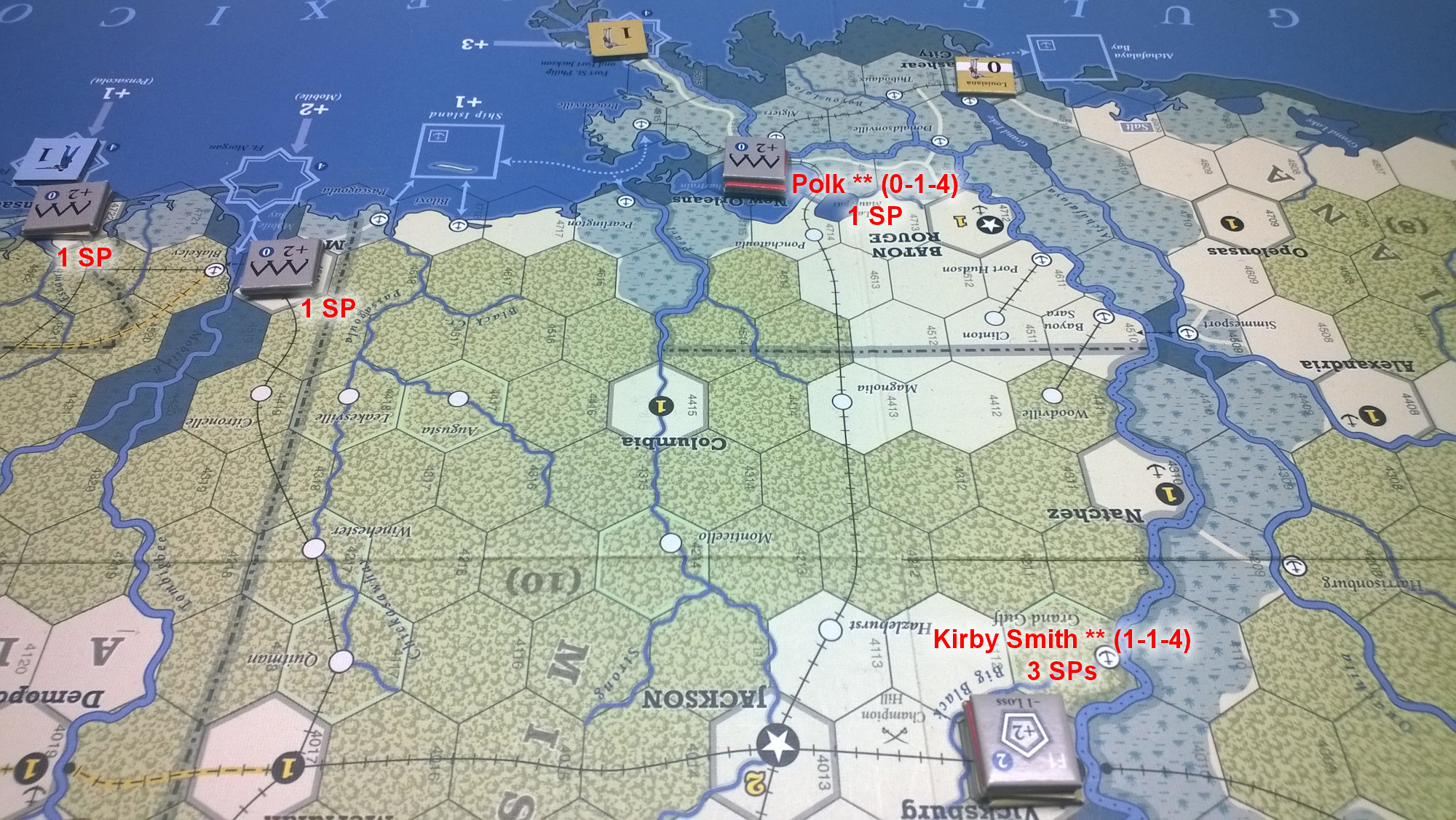 The U.S. Civil War: The Gulf coast states at the end of Game Turn 5