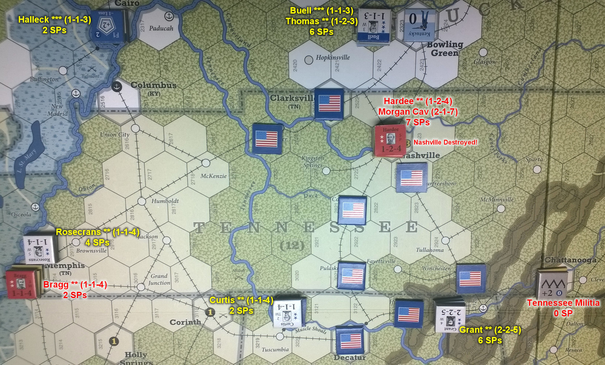 The U.S. Civil War: Western Theater at the end of Game Turn 5