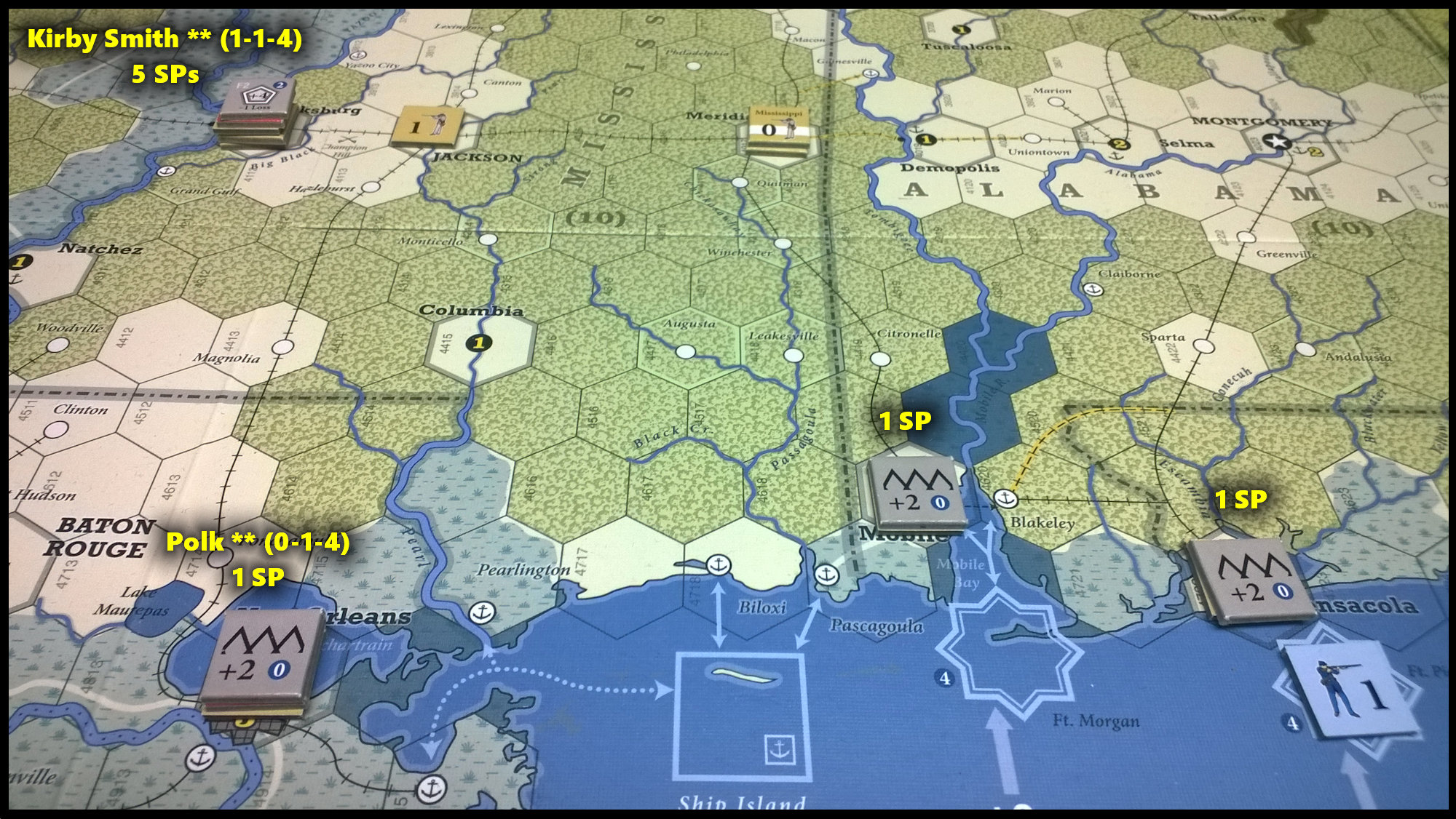 The U.S. Civil War: The Gulf coast area at the end of Game Turn 8