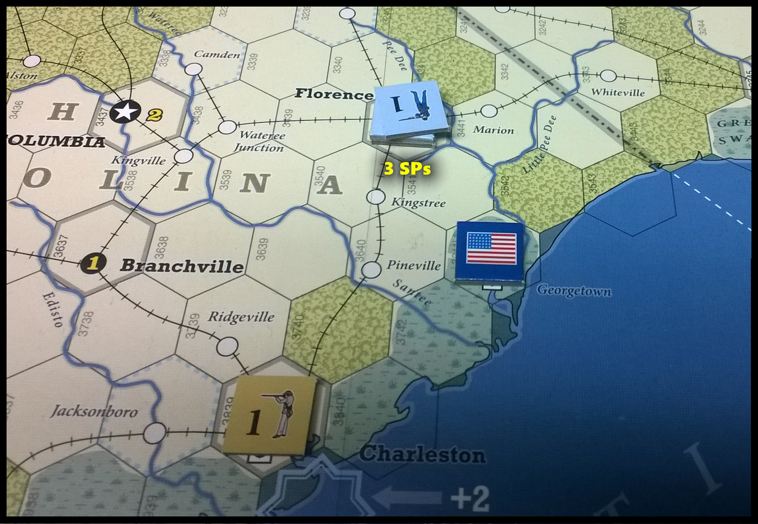 The U.S. Civil War: The south east at the end of Game Turn 8