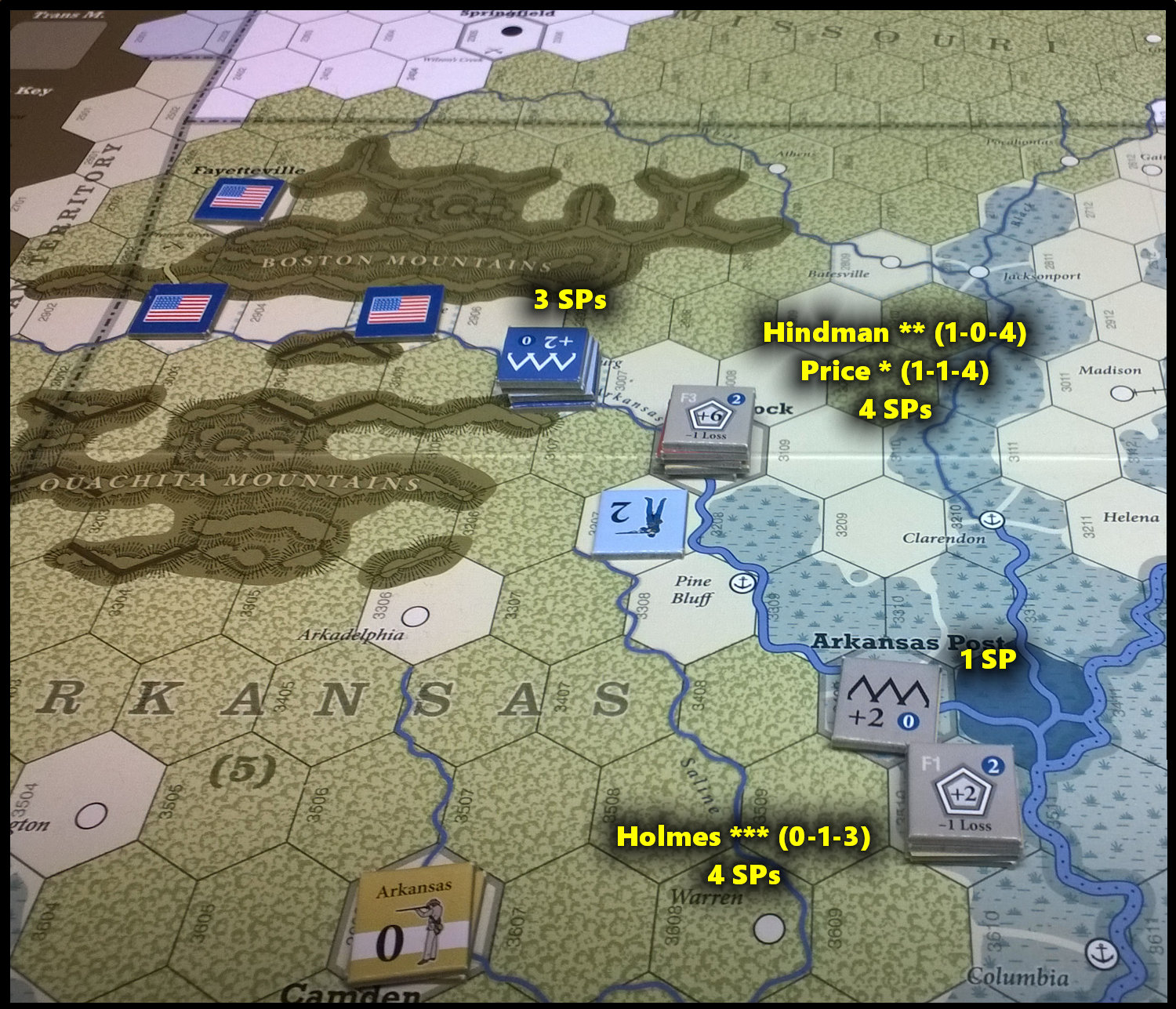 The U.S. Civil War: The Trans-Mississippi Theater at the end of Game Turn 8