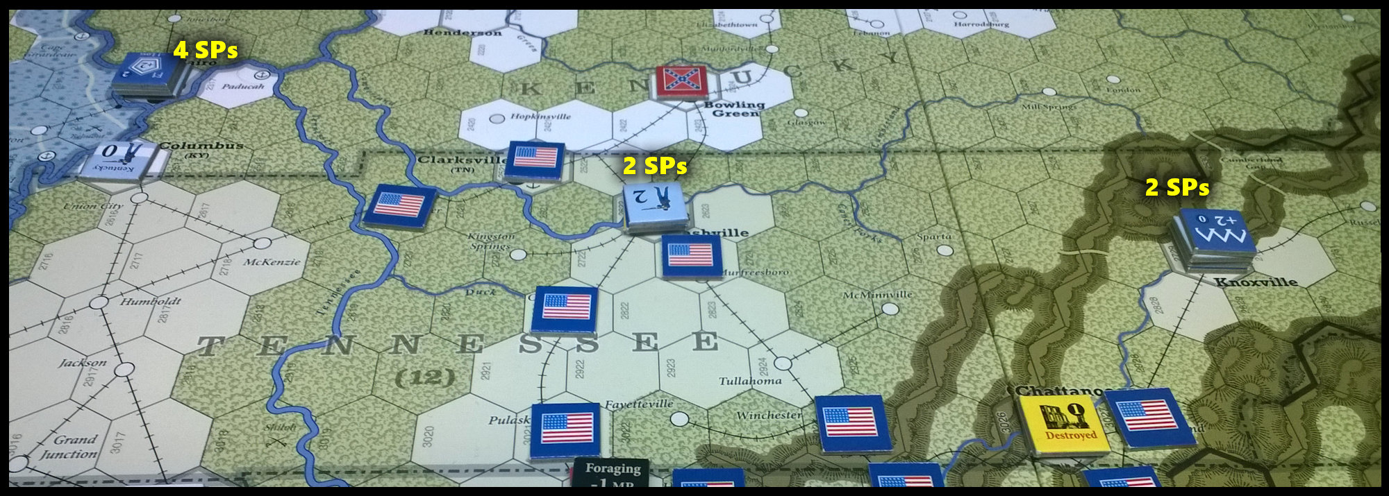 The U.S. Civil War: The Western Theater/Tennessee at the end of Game Turn 8