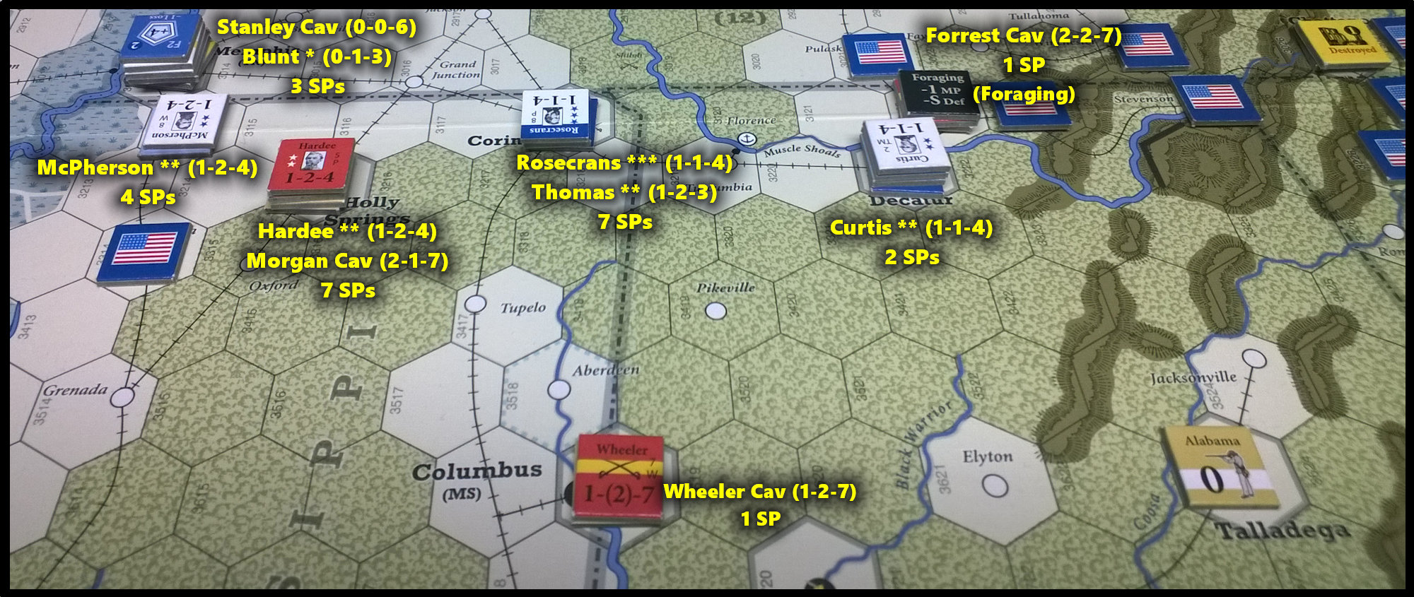 The U.S. Civil War: The Western Theater (Mississippi) at the end of Game Turn 8